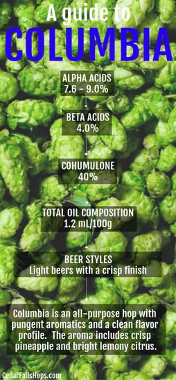 Columbia hops for brewing and home brewing